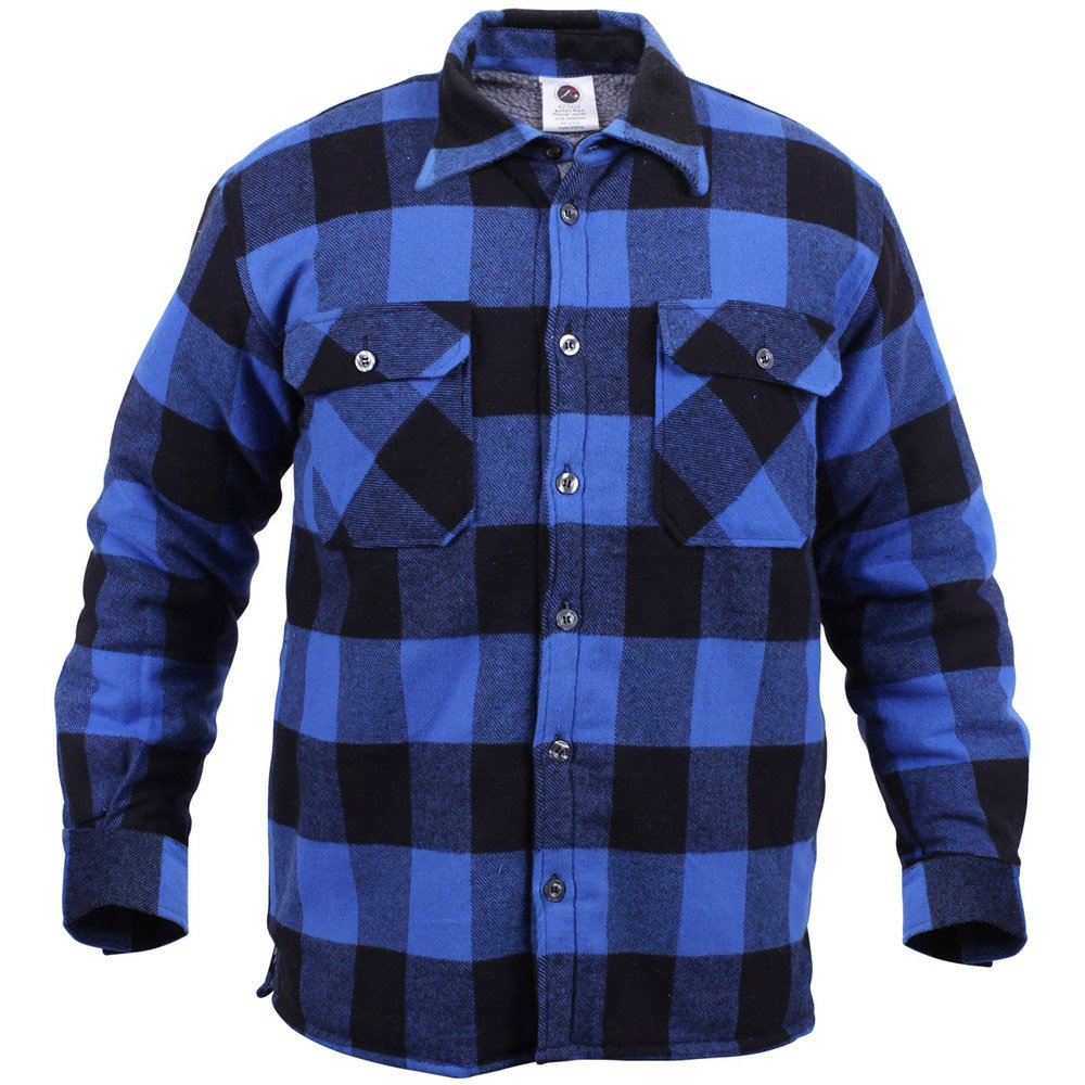 Mens extra heavyweight buffalo plaid sherpa lined flannel for Mens insulated flannel shirts