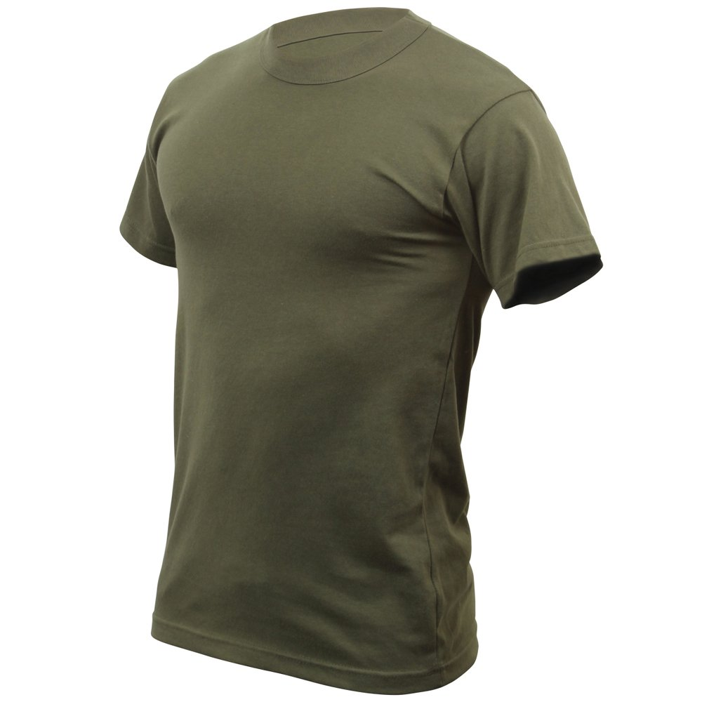 Mens solid color poly cotton military t shirt for Mens colored t shirts