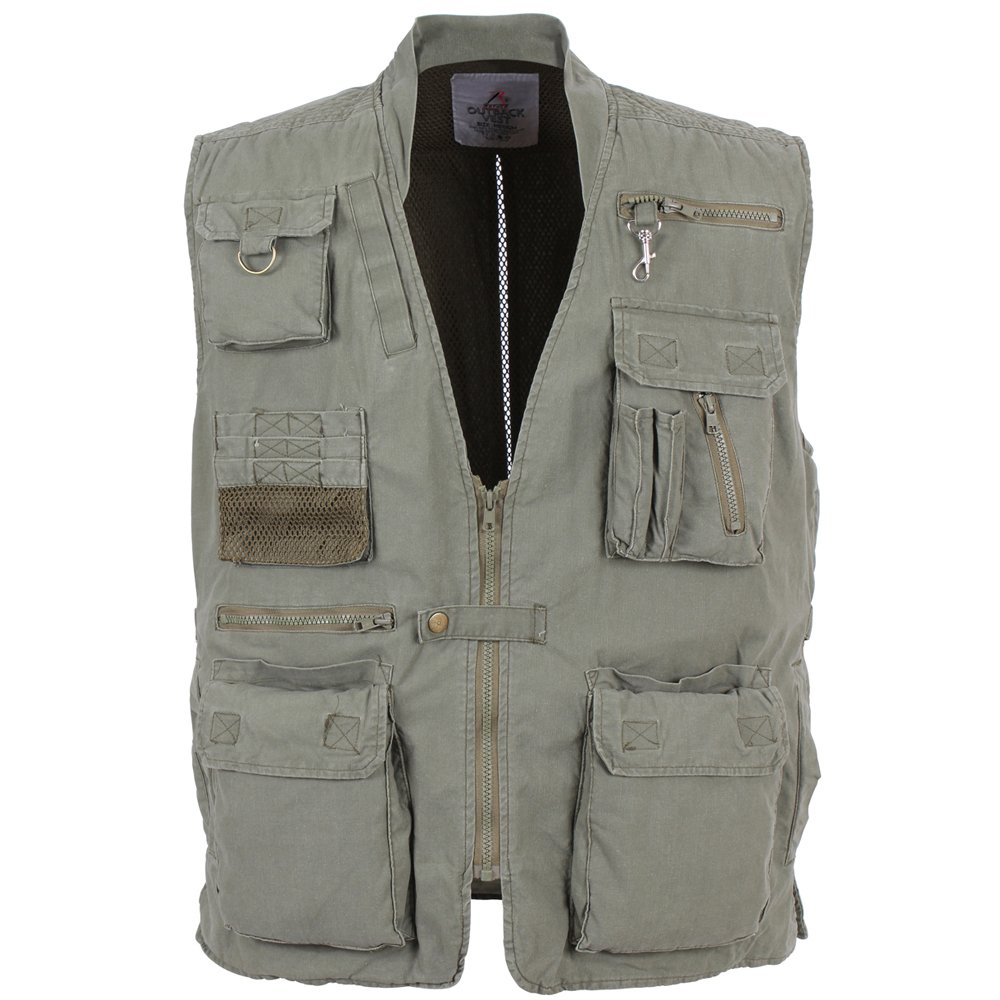 Safari Vests for Men. This is a selection of our favorite vests designed for men. Mright Safari Vest for Men. This polyester blend men's safari vest is good for putting over a t-shirt or long sleeved shirt while on safari. The safari vest is great for hiking, camping, fishing, and pretty much any outdoor activity you could see yourself on.
